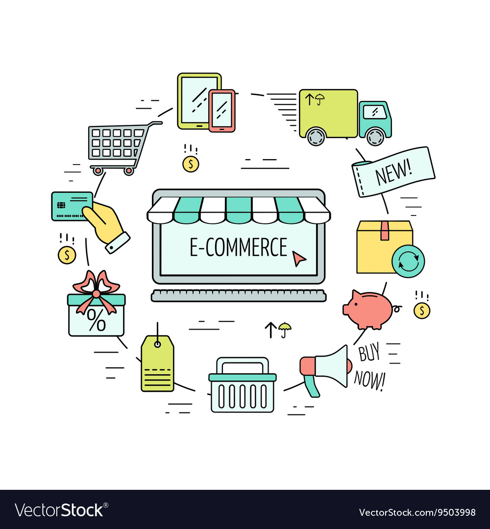Color ecommerce web design concept line icons vector