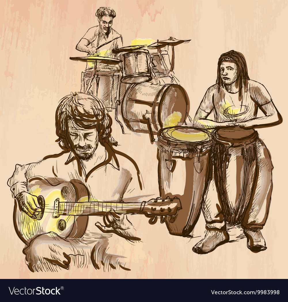 Music band  an hand drawn vector