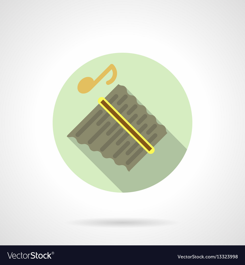 Music lessons panpipes flat round icon vector