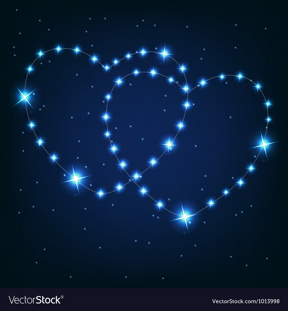 Two love heart from beautiful bright stars on the vector