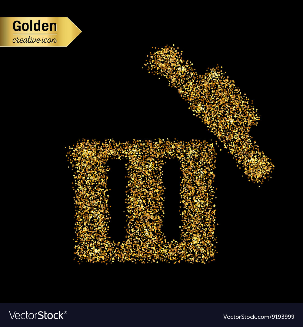 Gold glitter icon of trash box isolated on vector