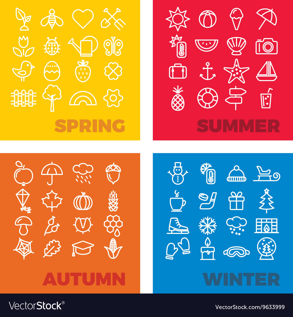 Season icons  spring summer autumn winter vector