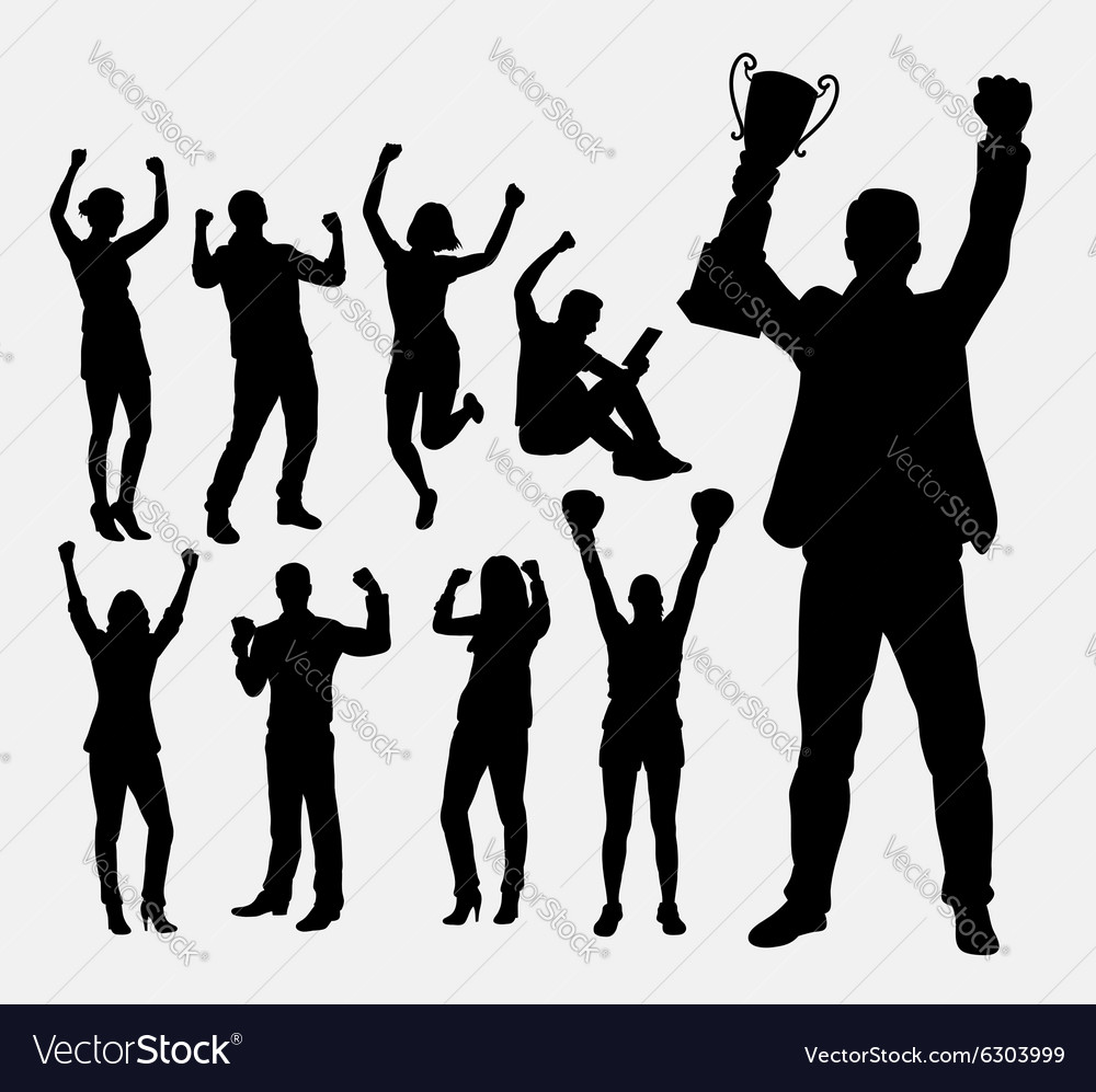Winner people silhouettes vector