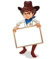 A cowboy holding an empty frame vector image vector image