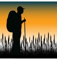 Tourist in field vector image