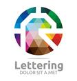 Abstract Logo Lettering R Rainbow Alphabet Design vector image