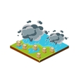 Flood in City Natural Disaster Icon vector image