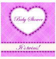 Baby-shower-cell-heart-banner-twins vector image