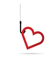 heart red on hook vector image