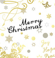 Merry Christmas card with gold glittering design vector image