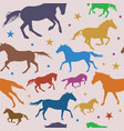 seamless pattern with colorful running horses on vector image