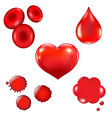 Set With Blood Drop And Heart vector image