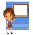 Cute little girl wearing school uniform vector image