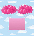 balloons with paper on sky vector image