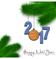 Basketball and 2017 on a Christmas tree branch vector image