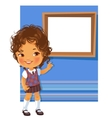 Cute little girl wearing school uniform vector image