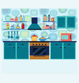 interior kitchen with cooking equipment in vector image
