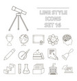 school set icons in outline style big collection vector image