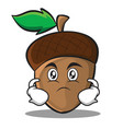 serious acorn cartoon character style vector image