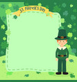 st patrick day boy notes greeting card clover vector image