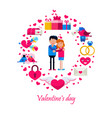 valentine s day icons in circle vector image