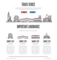 venice travel infographics in linear style vector image