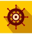 Wooden ship wheel flat icon vector image