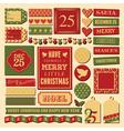 christmas vintage scrapbook design elements set vector image vector image