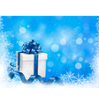 Christmas blue background with gift box and vector image