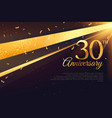 30th anniversary celebration card template vector image