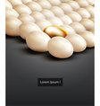 lot of white eggs and one gold vector image