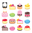 Dessert icons set - cake macaroon ice-cream icon vector image vector image