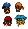 Danger cartoon pirates captains and sailors vector image vector image