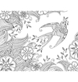 Coloring page with beautiful flying bird and vector image