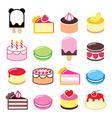 Dessert icons set - cake macaroon ice-cream icon vector image