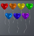 set of colorful balloons shape of heart happy vector image