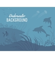 Underwater background template with dolphin vector image