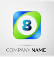 number eight symbol in the colorful square vector image