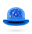 Blue starred bowler hat vector image vector image
