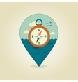 Compass pin map icon Marine Sea vector image