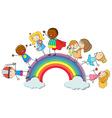 Happy children standin on rainbow vector image vector image