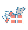 gift box with a dove icon vector image