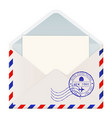 open international mail envelope with new york vector image