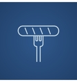 Sausage on fork line icon vector image