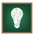 Light lamp sign White chalk effect on green vector image