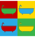 Pop art bathtub icons vector image