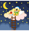 rabbit reads book in clouds at night vector image
