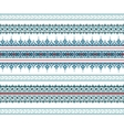 Set of Ethnic ornament pattern in blue colors vector image