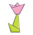 origami tulip icon cartoon style vector image