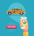 public taxi service retro yellow taxicab vector image